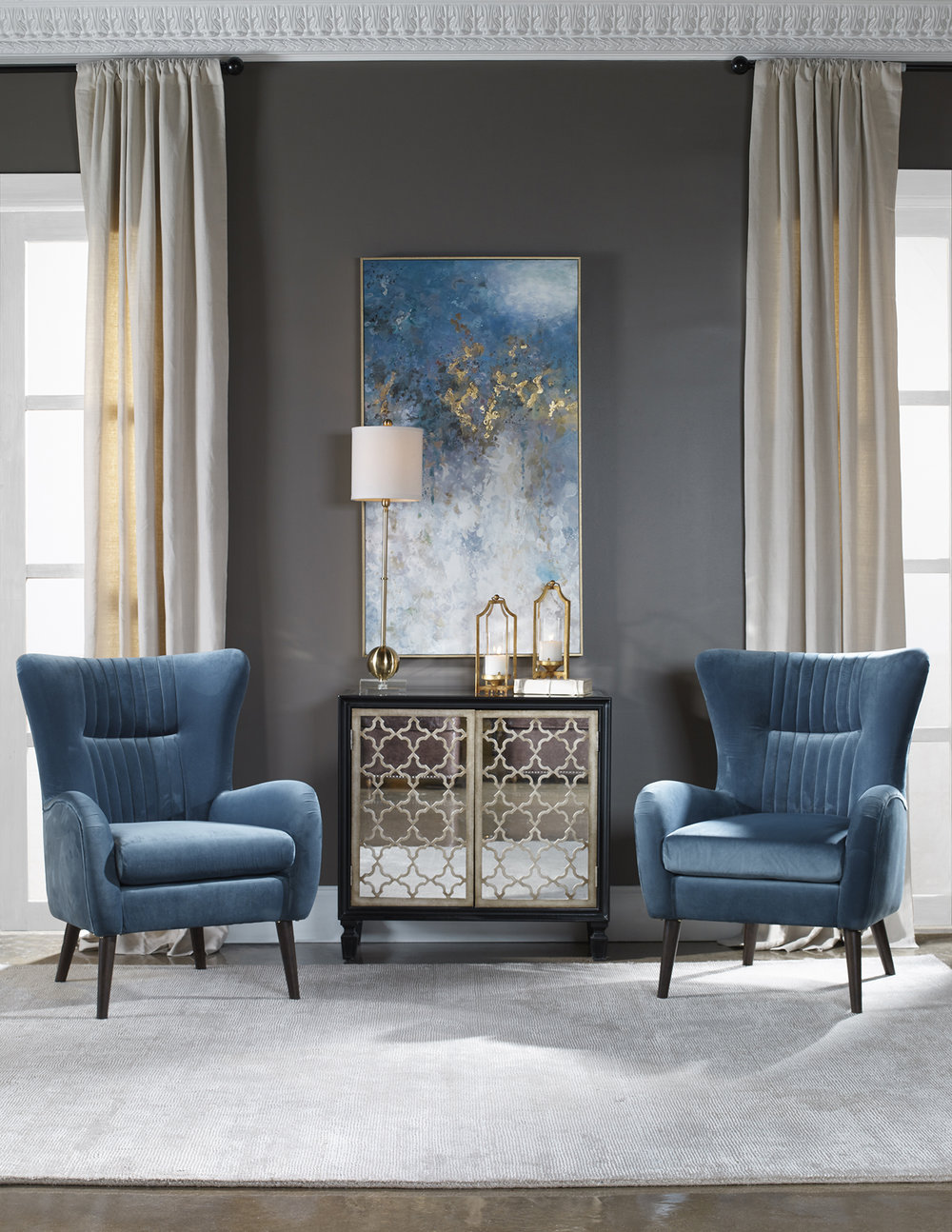 Considering a stain-resistant performance fabric on upholstered items is always a great idea, particularly for those with children or pets. Source: Uttermost.