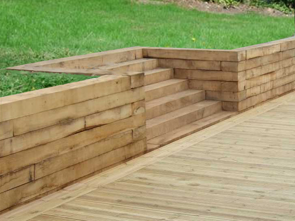 Softwood Sleepers  Shown here with Redwood Decking.