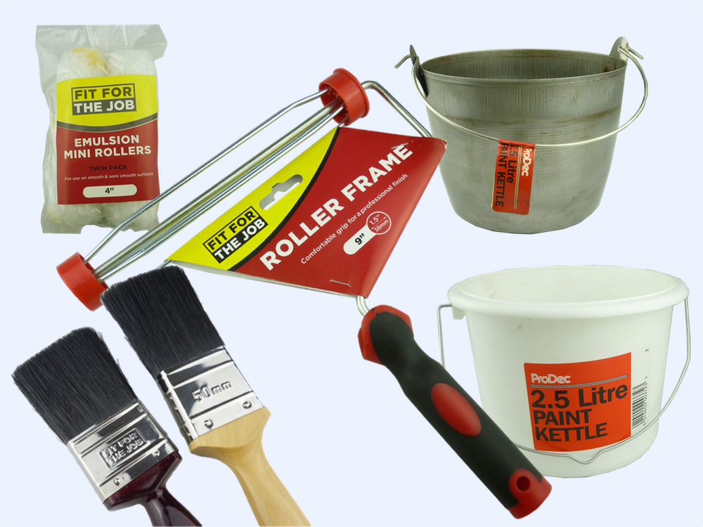 PAINT BRUSHES, ROLLERS & KETTLES