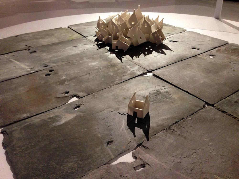 Porcelain and roof slates. Approx. 1.5m x 1.5m x 80cm (inc. plinth)