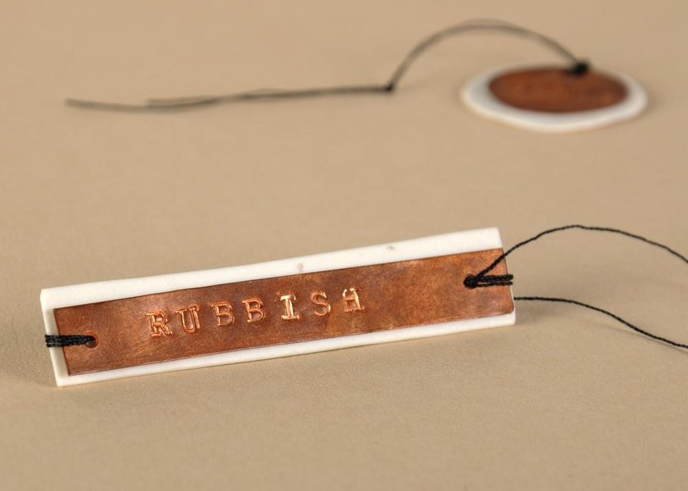 Porcelain, copper, oak, thread. Various sizes from 2cm x 2cm to 15cm x 8cm
