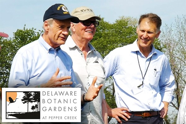 US Sen. Tom Carper, Piet Oudolf and Delaware Rep. Ron Gray