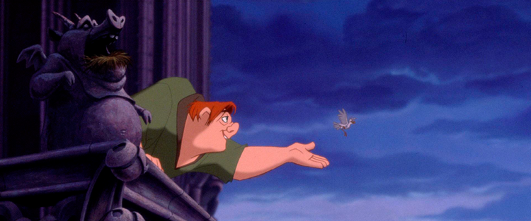 47.Corcunda de Notre Dame - Instigado por seus amigos gárgulas, Quasídomo enfrenta seu malvado guardião e aventura-se a sair da torre para participar do alegre