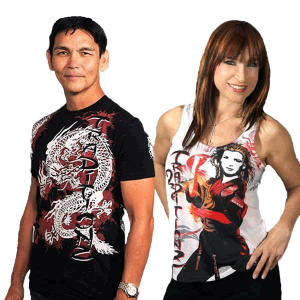 Don wearing White Dragon   and Cynthia wearing CR Tank