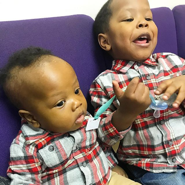 Shhhhhh! Be quiet RJ I'm trying to listen!! . . . . . . . #churchbabies #sundayvibes #babiesofinstagram #rjandzayn #oshkoshbaby #toddlersofinstagram #boyfashion #mybrotherskeeper #blackboyjoy #brothers #bloggerkids #nyckids