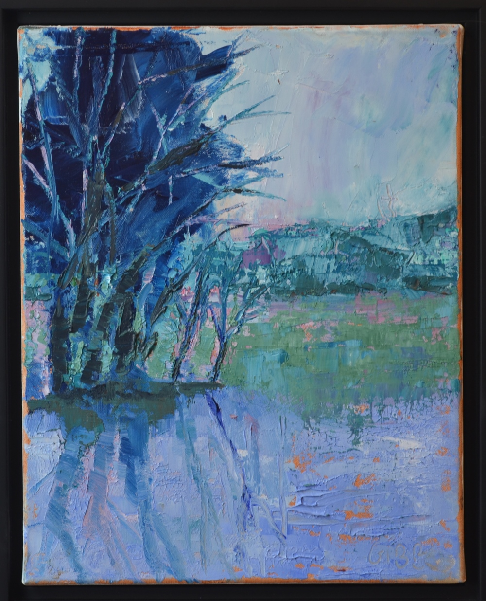 """Blue"", Framed Oil on Canvas, 11 x 14"