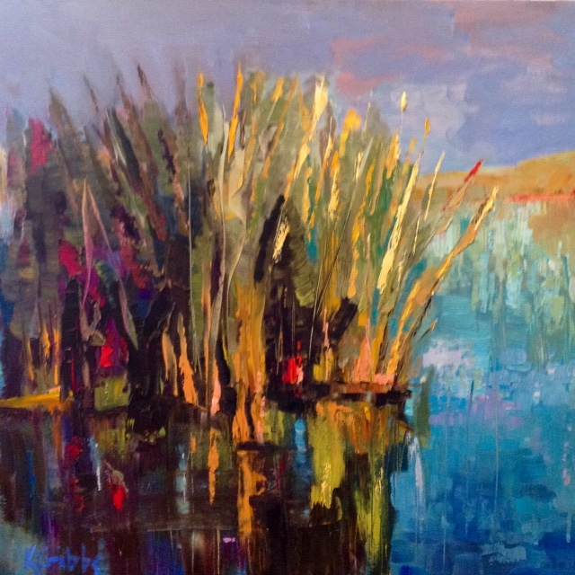 """Marsh Reflections"", Oil on Canvas, 24 x 24"