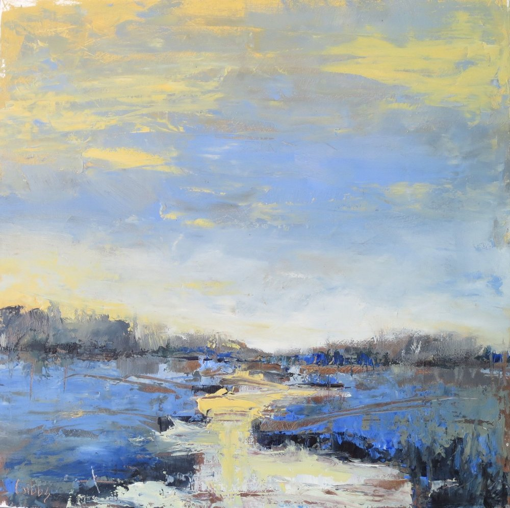 """Blue Marsh"", Oil on Canvas, 24x24"