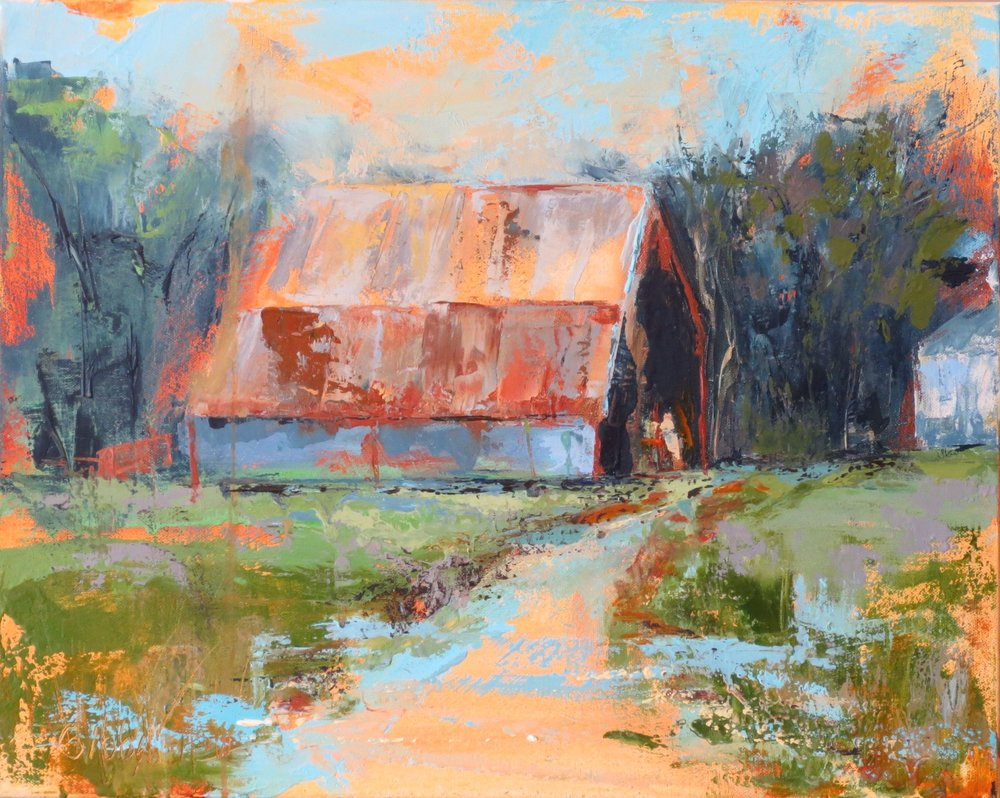 """""""Stowers Barn 3"""", Oil on Canvas, 24x24 (SOLD)"""