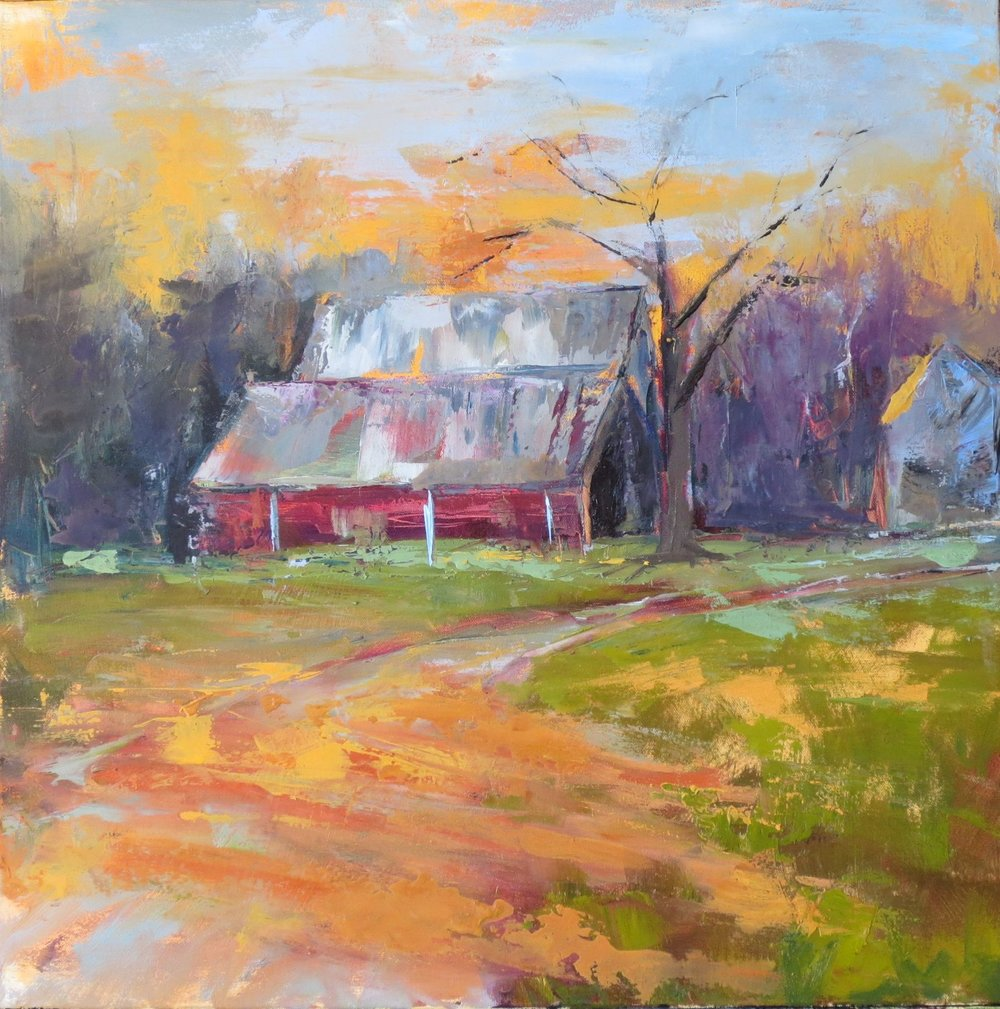 """""""Stowers Barn 2"""", Oil on Canvas, 24x24 (SOLD)"""