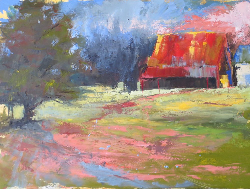 """Stowers Barn 4"", Oil on Canvas, 30x40"