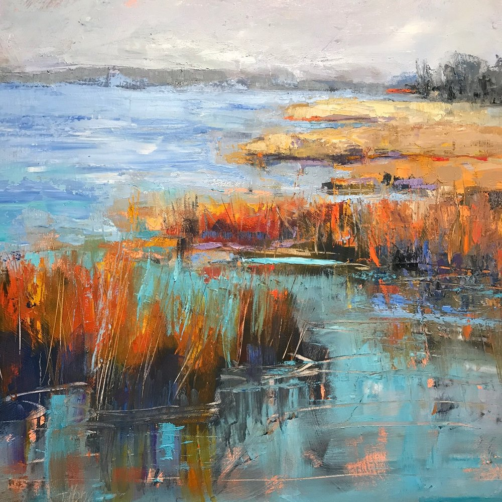 """Fire Marsh"", Oil on Canvas, 36 x 36"
