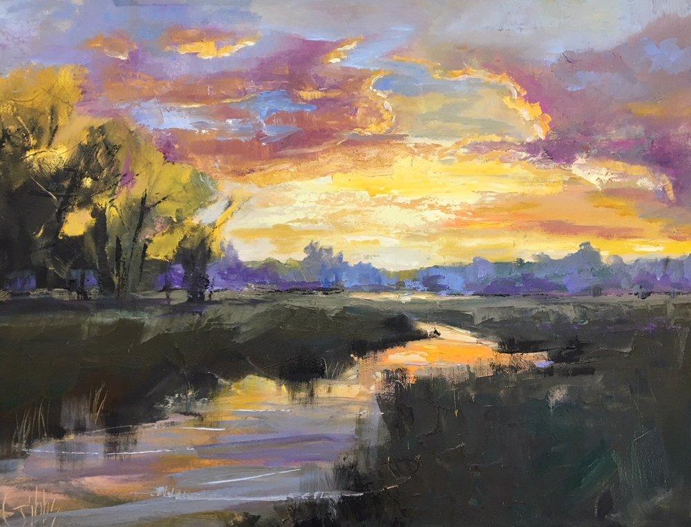 """Charleston Glow"", Oil on Canvas, 30 x 40"