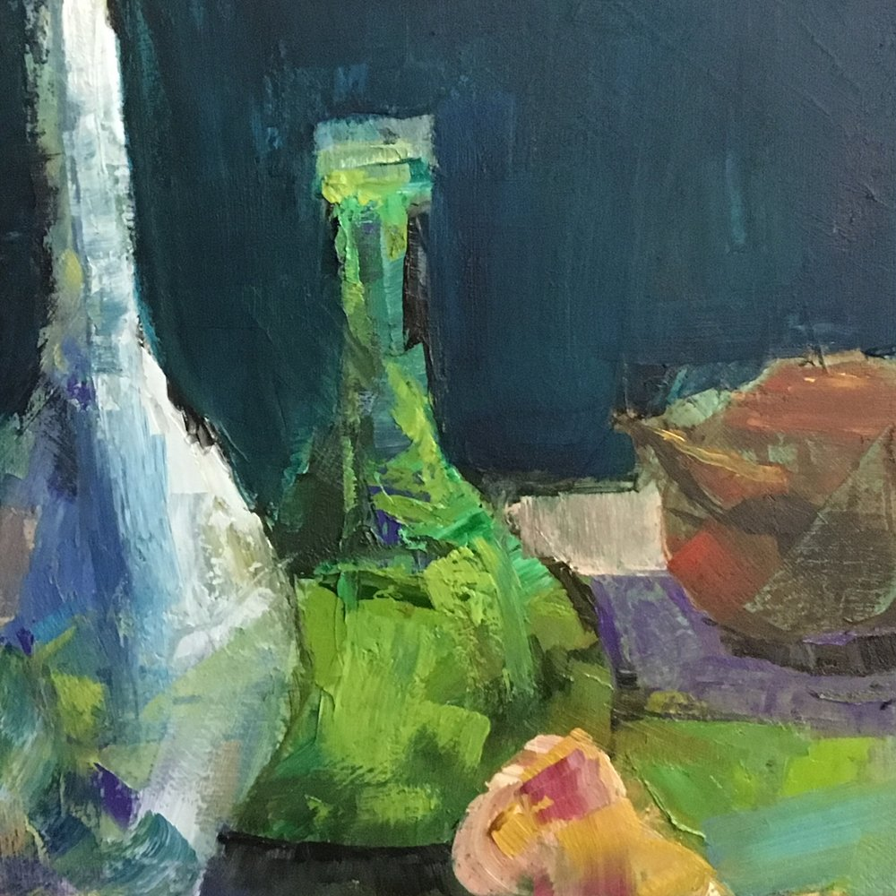"""Green Glass"", Oil on Canvas, 18 x 18"