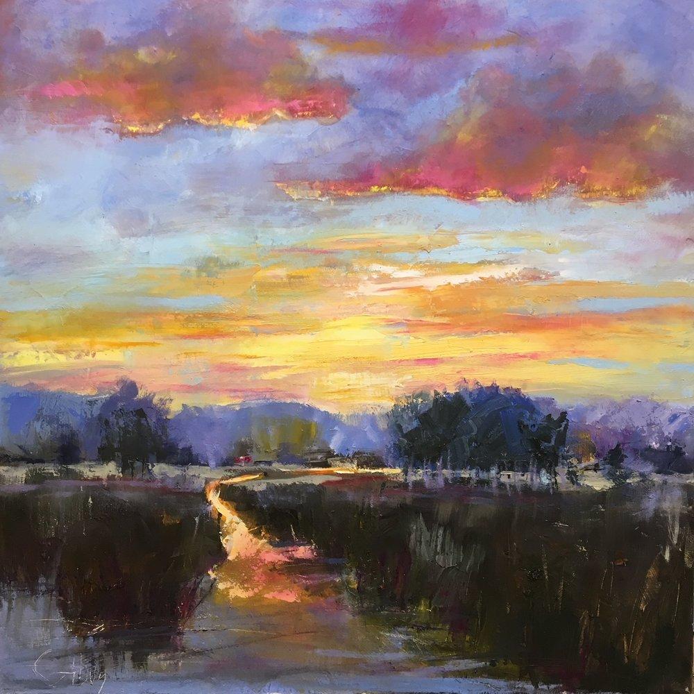 """""""Sunset"""", Oil on Canvas, 36 x 36"""