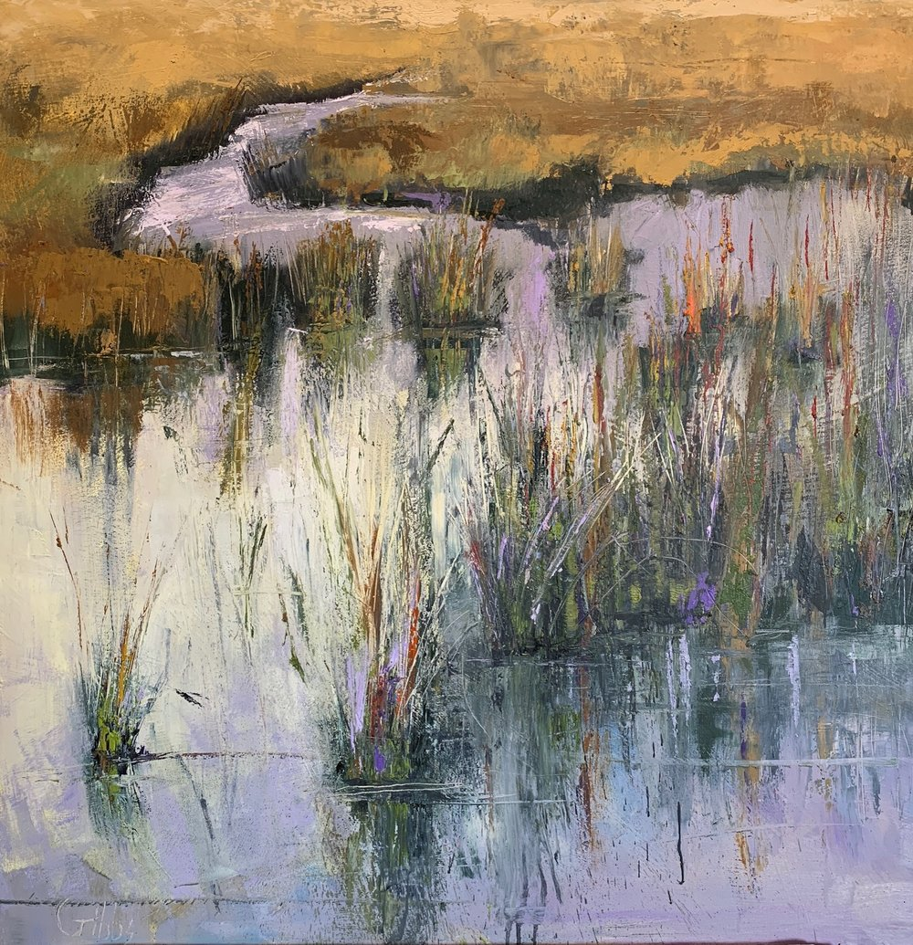 In the Reeds, Oil on Canvas, 36 x 36