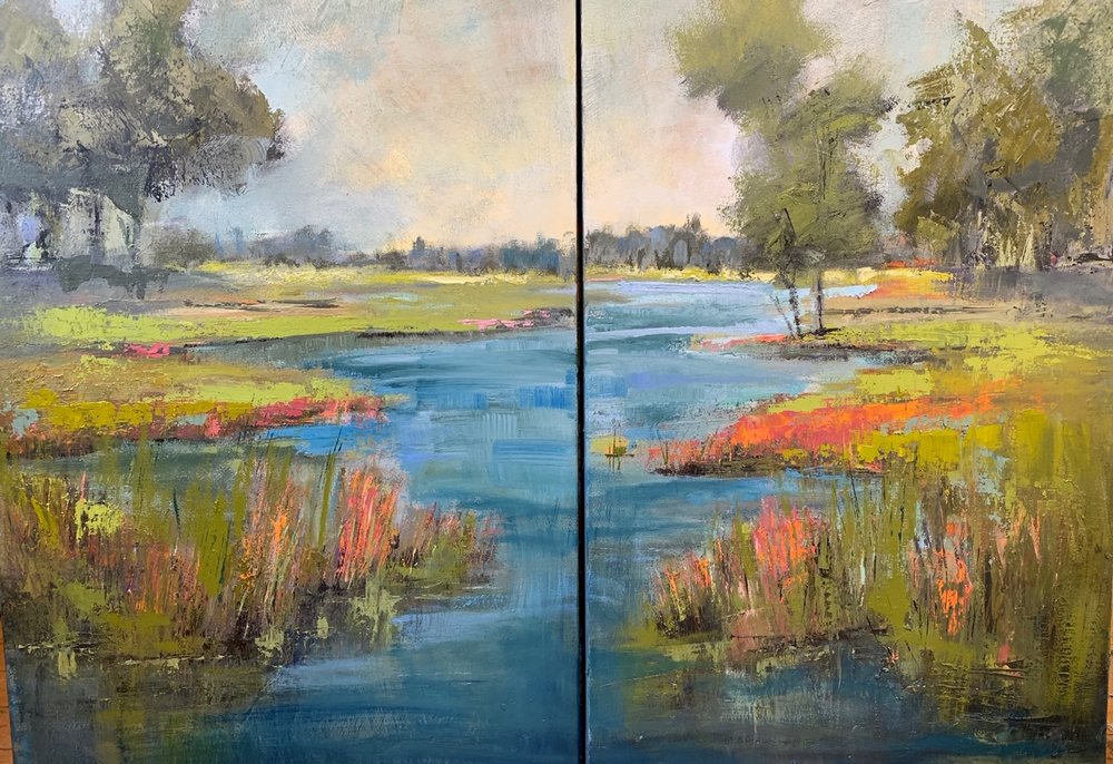 """""""Linger"""", Oil on Canvas, Diptych, 36 x 24 each"""