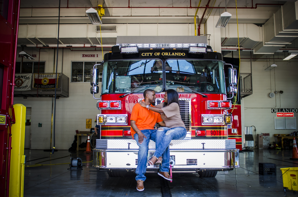 Theresa & Cedric Downtown Orlando Engagement shoot Fire Station 1