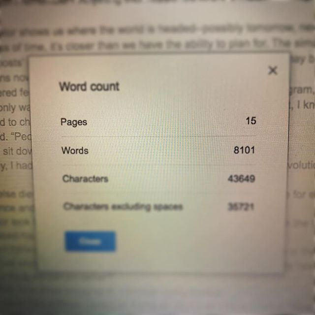 #blurryphoto  8101 words in 2 days is the easy part. Editing this ever-expanding monolith of a dystopian thriller begins now. I didn't expect to start this mid-July, but I will damn well finish it.  Don't worry - the superhero novella is back on the docket for tomorrow. One step closer to finished products every single day.  Can't wait to share it with you all! 📚 📚 📚