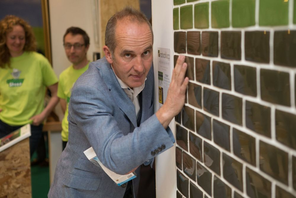 "Kevin McCloud Admiring Our eco tile ""Crush"""