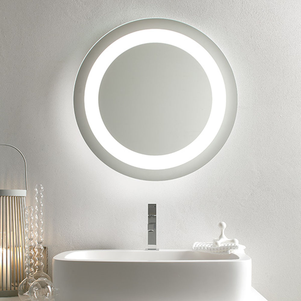 Write your loved one a personal message in the mirror and wait for the 'ahhhh' sound coming from your bathroom! Ref; Bathroom Origins Halo Mirror,    Diameter :600mm Backlit Mirror, energy saving Sensor Switch, PVC Safety Backed Mirror,Easy Hanging System