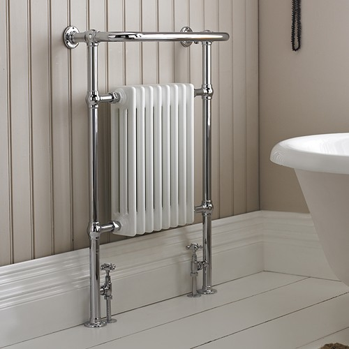 Heat up the towels for that extra luxury feel.....Ref; Burlington Trafalgar  Radiator;  Finishes:     Chrome   Product Type:     Traditional   Material:     Steel   Overall height:     95cm   Size:    642 x 235 x 950 mm    Weight:     16.5 kg