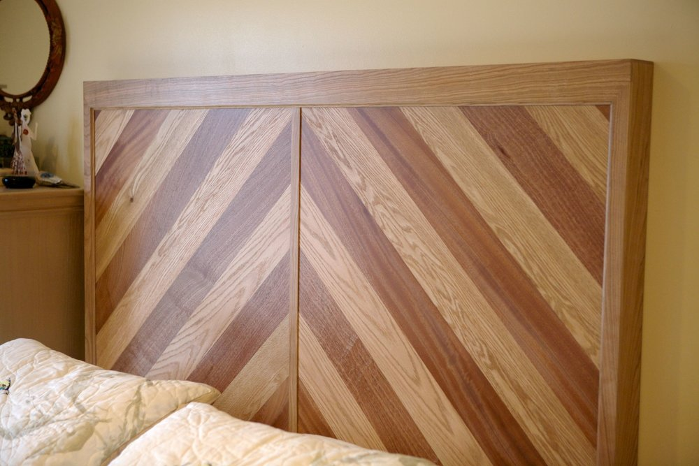 Sapele, Red Oak, and Cherry Headboard