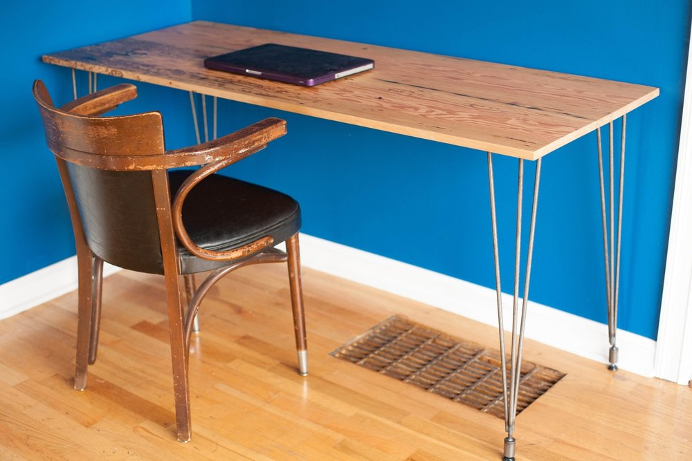 Mid-Century Modern Reclaimed Fir Desk with Epoxy
