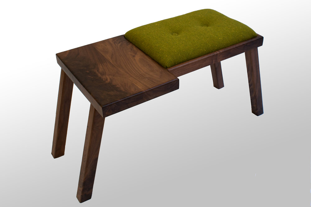 The Raymond Bench Walnut With Green Wool Tweed