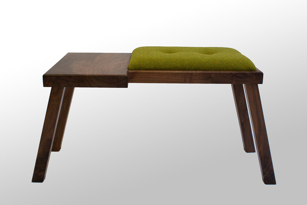 The Raymond Bench: Walnut with Green Wool Tweed