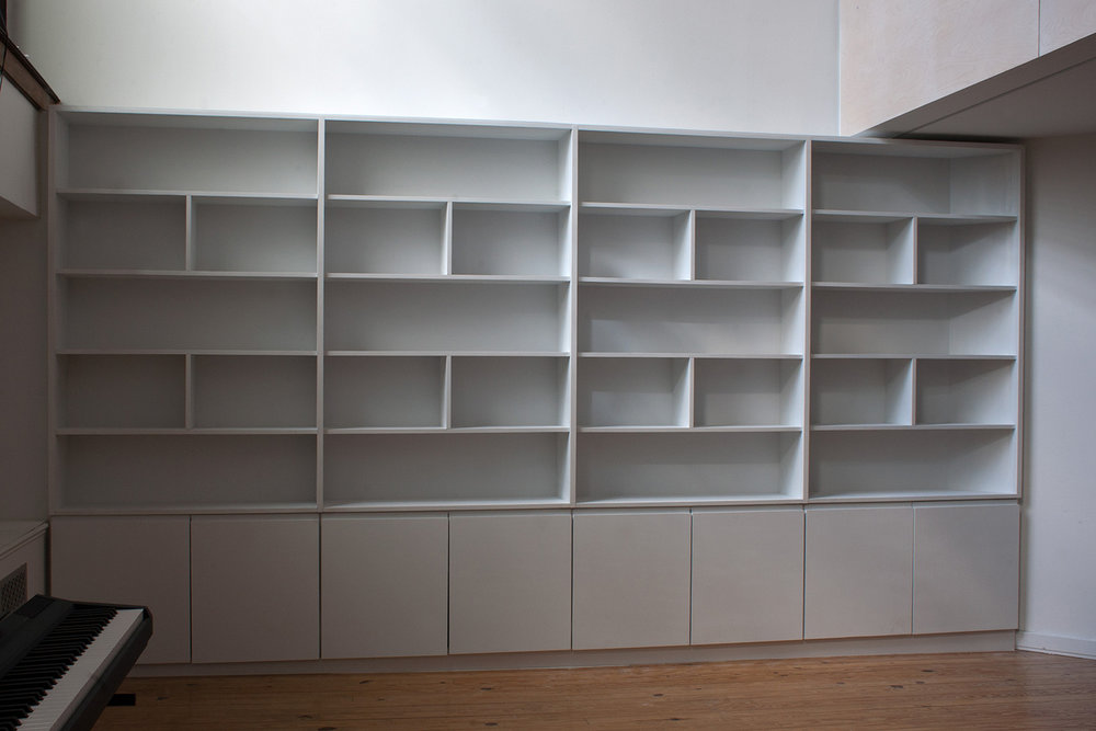 14 Foot White Bookcase