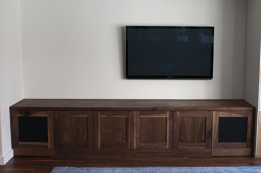 Walnut Media Center with tempter control vents and fans