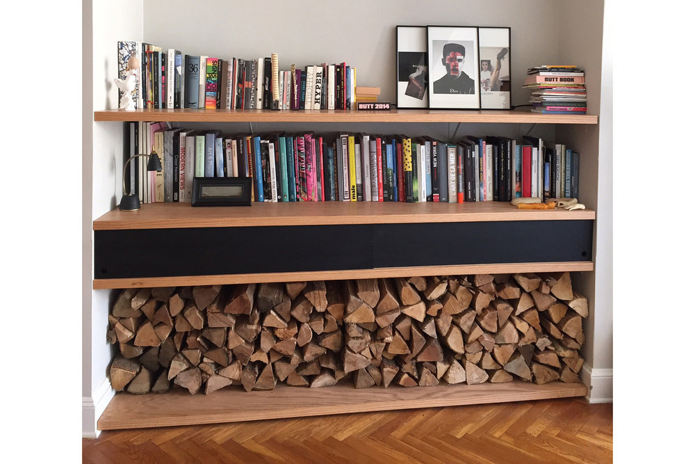 Oak Shelves with Sliding Doors