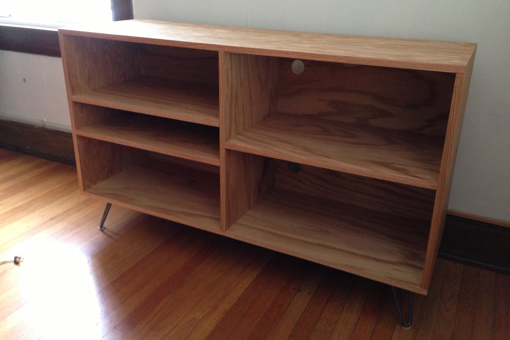 Modern Red Oak TV Stand