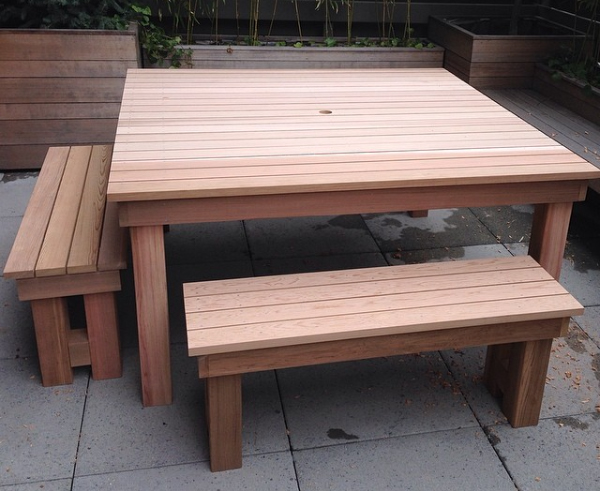 Clear Cedar Outdoor Table and Benches