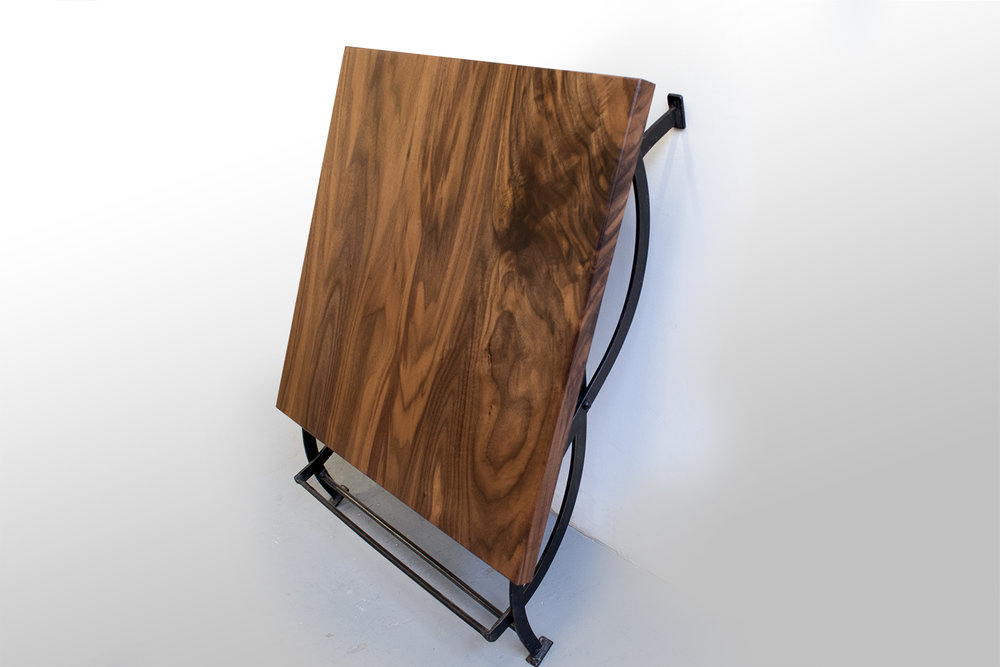 Walnut Side Table with Wrought Iron Base