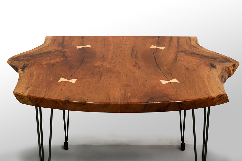 Live-edge Cherry Slab Table with Sycamore Bowties