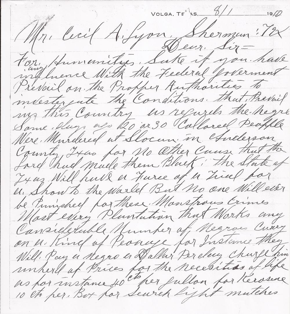John A. Siddon to Cecil A. Lyon, August 1, 1910 (Page 1) (United States Department of Justice, file no. 152961, R.G. 60, 1910)