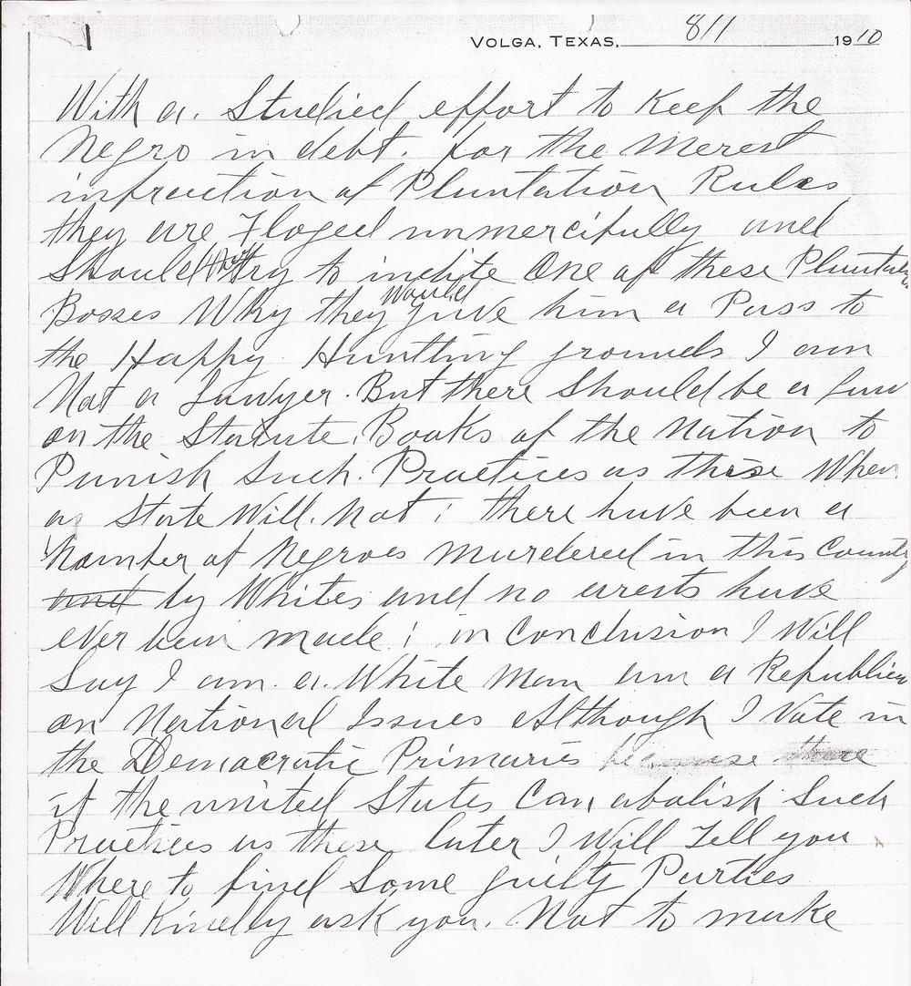 John A. Siddon to Cecil A. Lyon, August 1, 1910 (Page 2) (United States Department of Justice, file no. 152961, R.G. 60, 1910)