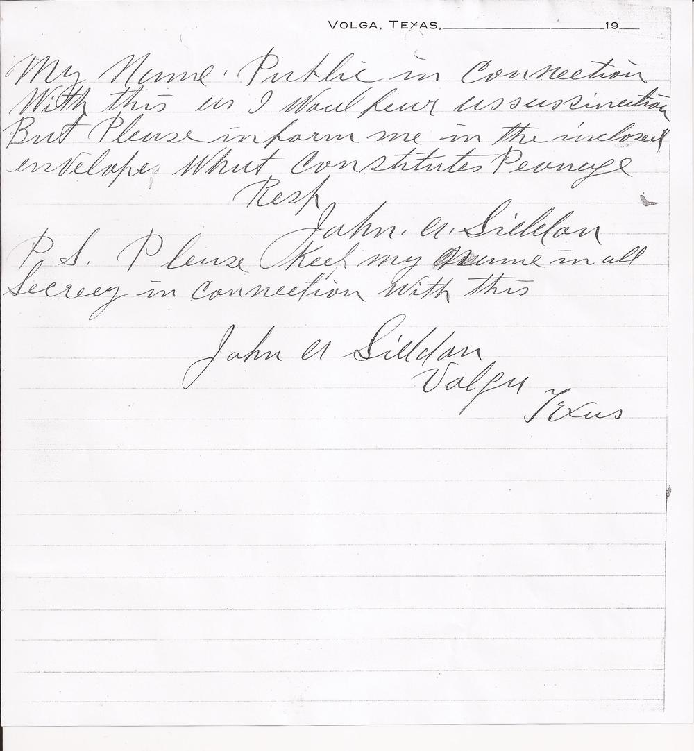 John A. Siddon to Cecil A. Lyon, August 1, 1910 (Page 3) (United States Department of Justice, file no. 152961, R.G. 60, 1910)