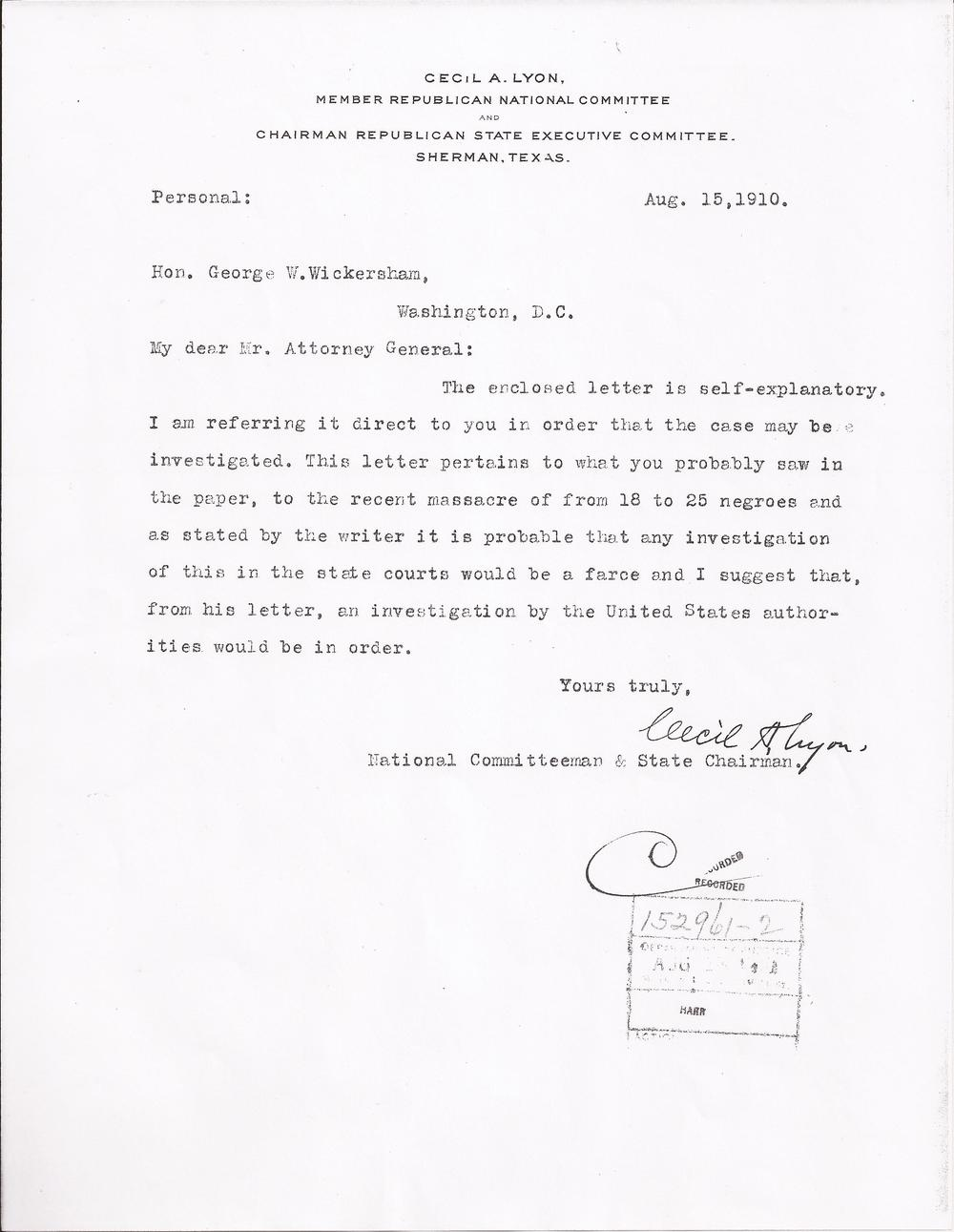 Cecil A. Lyon to George Wickersham, August 19, 1910 (United States Department of Justice, file no. 152961, R.G. 60, 1910)