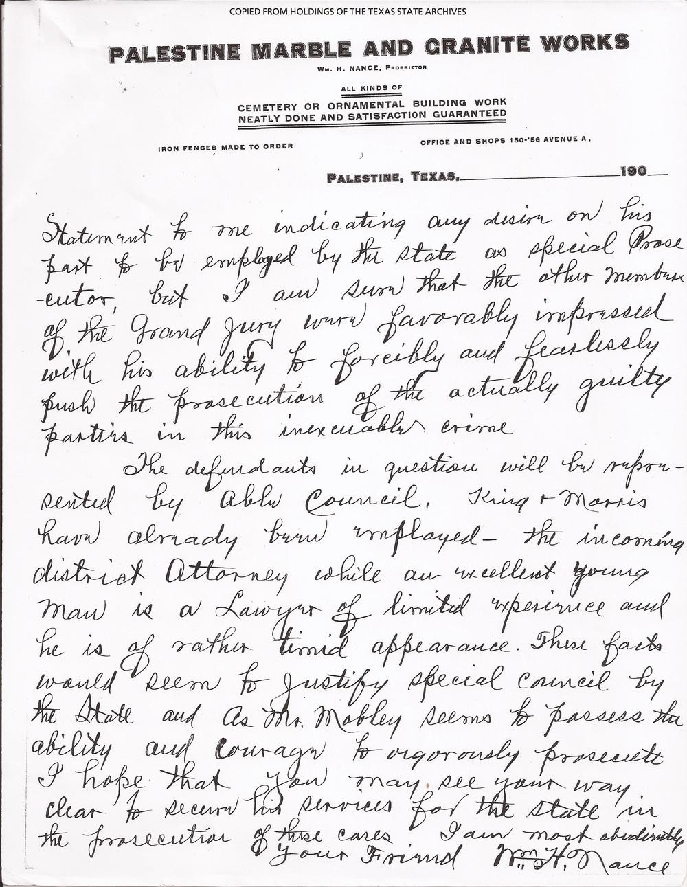 Jury Foreman's Letter, August 25, 1910 (Page 2) (Records, Texas Governor Thomas Mitchell Campbell. Archives and Information Services Division, Texas State Library and Archives Commission)