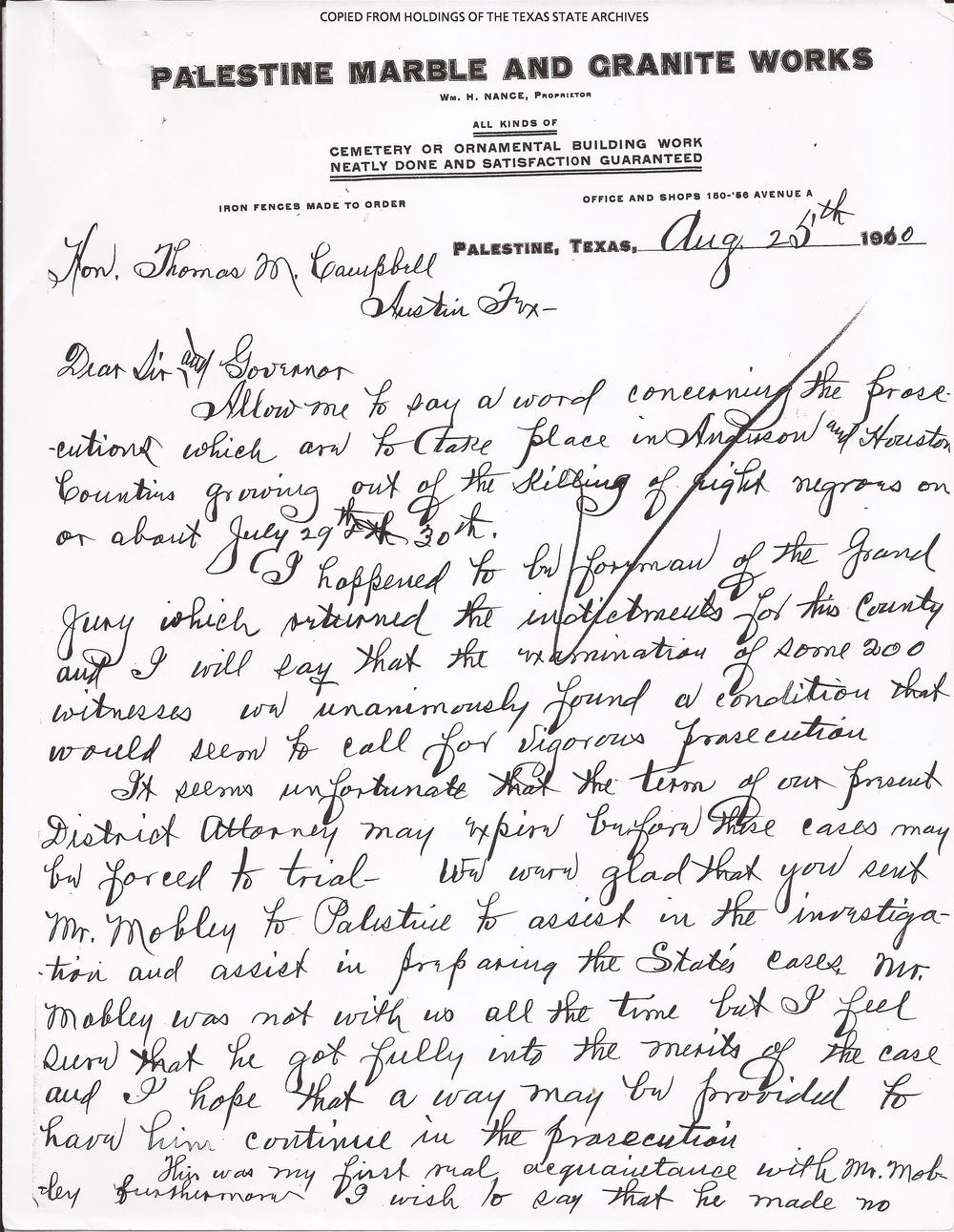 Jury Foreman's Letter, August 25, 1910 (Page 1) (Records, Texas Governor Thomas Mitchell Campbell. Archives and Information Services Division, Texas State Library and Archives Commission)