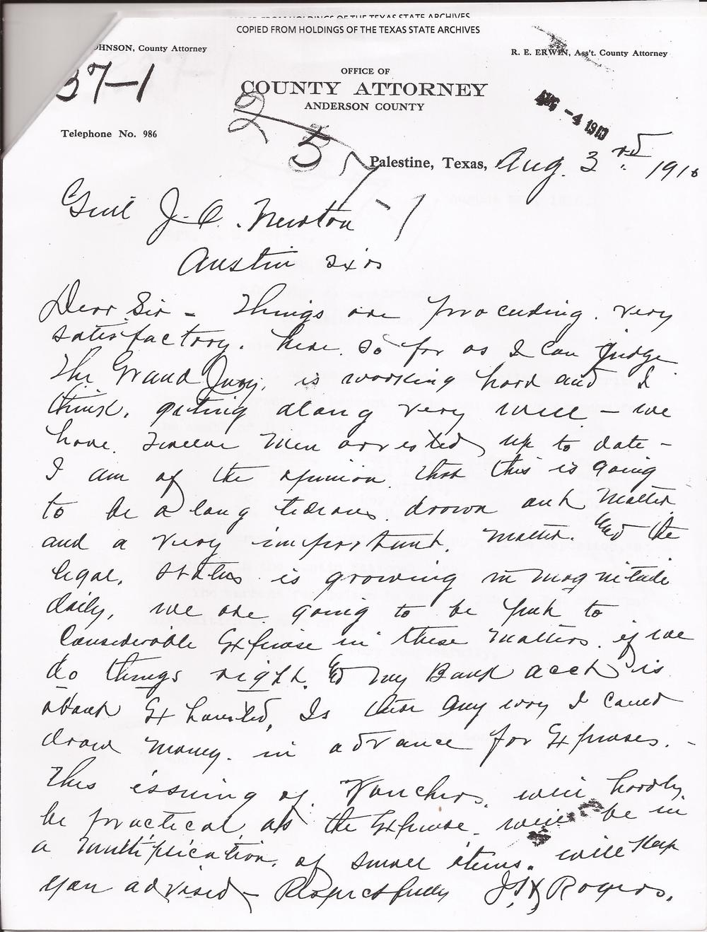 J.H. Rodgers Letter, August 3, 1910 (Company C, Ranger Force, Capt. J.H. Rogers, 1910, Ranger Force Military Rolls, Texas Adjutant General's Department.  Archives and Information Services Division, Texas State Library and Archives Commission)