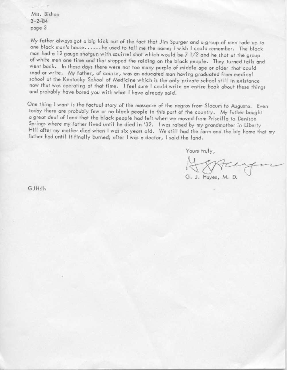Dr. G.J. Hayes, Letter to Mrs. Eliza H. Bishop, March 2, 1984 (Page 3) (Houston County Historical Commission)