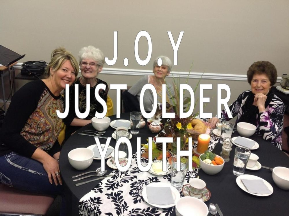 "J.O.Y. (Just Older Youth) Meetings with our ""older youth"" include gathering together for food, fun, fellowship and a time of encouragement. See our Calendar"