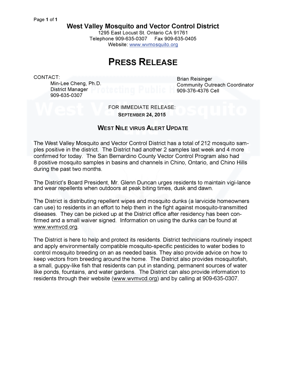 Latest Press Releases a press release about the west nile virus. Click on the image to view press releases.