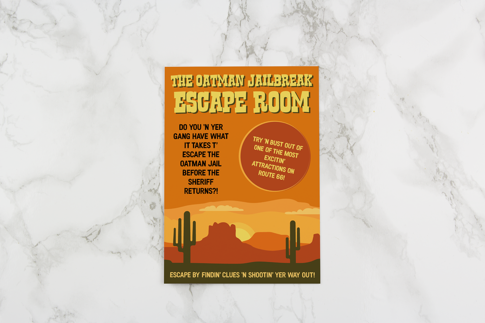 OATMAN JAILBREAK ESCAPE ROOM TABLETOP ADVERTISING