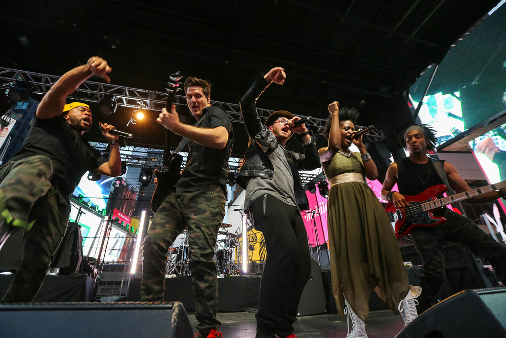 TobyMac and the DiverCity Band perform in Times Square.