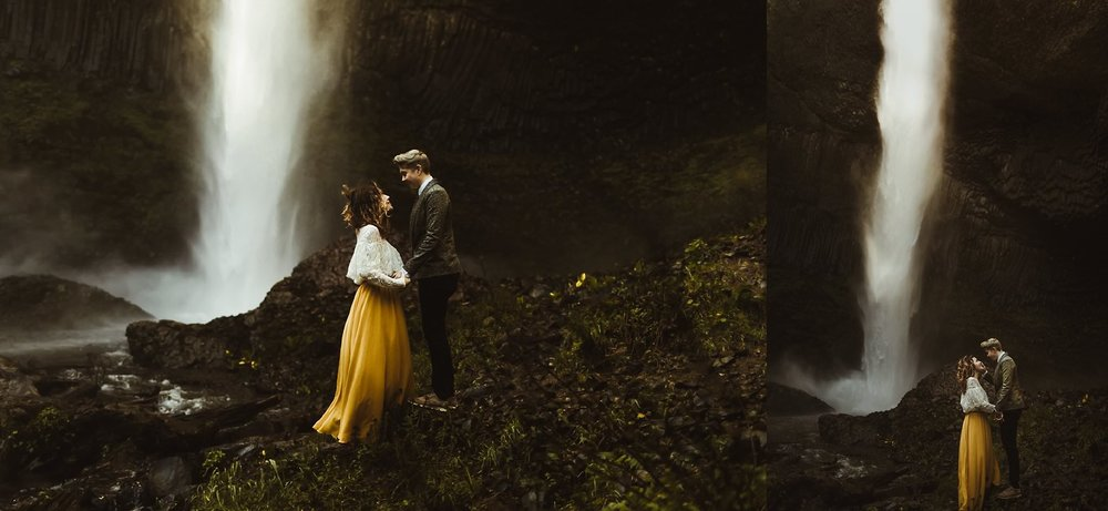 A romantic vow exchange for a same-sex couple eloping at Latourell Falls